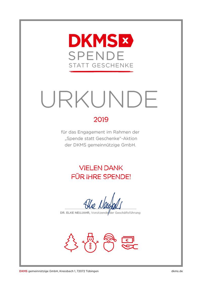 Urkunde über eine Spende von Bösen & Heinke GmbH IT-Service in Langenfeld beim DKMS zur Unterstützung der gemeinnützige Organisation DKMS im Kampf gegen Blutkrebs.