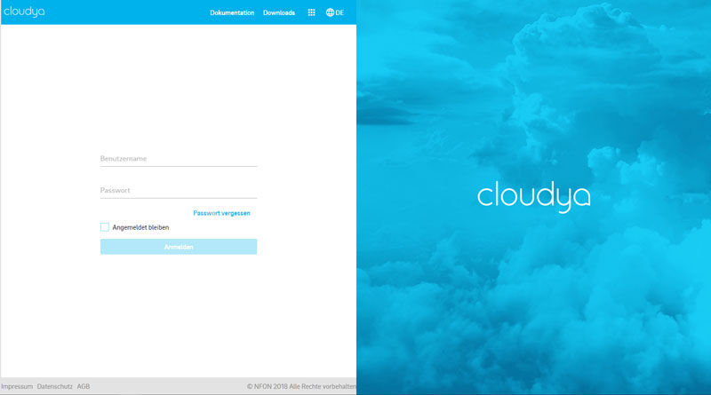 Screenshot Loginbereich für Cloud Telefonanalge cloudya