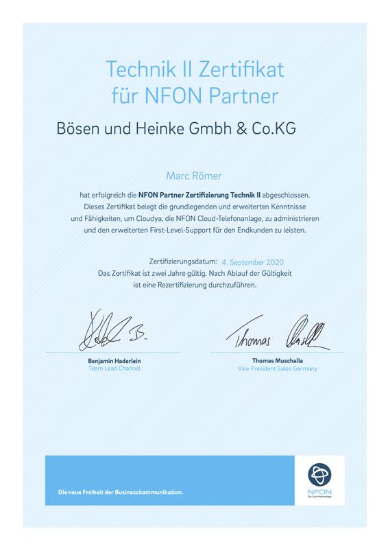 Zertifikat NFON Technik Partner Bösen & Heinke GmbH für Cloud Telefonanlagen