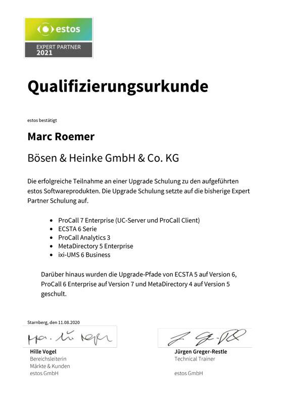 estos Zertifikat Boesen & Heinke GmbH ist ExpertPartner 2021