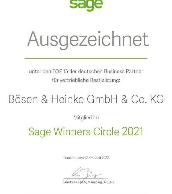 Sage Winners Circle 2021: Ehrung für Bösen & Heinke GmbH & Co. KG