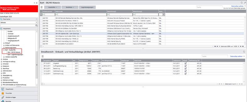 Arbeitsoberfläche EK/VK Historie für Sage100
