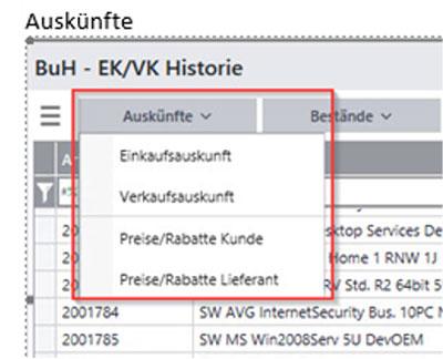 Arbeitsoberfläche Auskünfte EK/VK Historie für Sage100